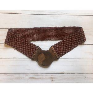 Vintage | wood and beaded interlocking belt | S
